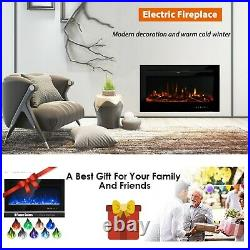 Electric Fireplace Recessed Insert Wall Mounted 40 Free Standing 1500W Heater