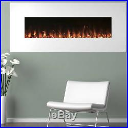 Electric Fireplace Screen Insert LED Recess Flush Mount Electronic Remote 50 in