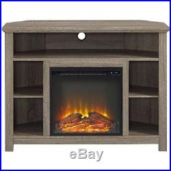 Electric Fireplace TV Stand Corner Wood Media Storage Shelves Insert Home Heater