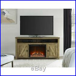 Electric Fireplace TV Stand Insert 60 TV Console Wood Rustic Farm Natural Home