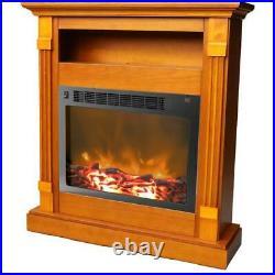 Electric Fireplace Teak Finish Mantel and Surround 34 In W 1500 Watt Log Insert