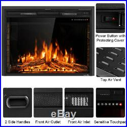 Electric Fireplace Wall Mount Insert 36 Inch Heater With Colored Logs RC 1500 W
