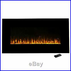 Electric Fireplace Wall Mount Insert LED Modern Linear Fire Ice / Remote / Glass