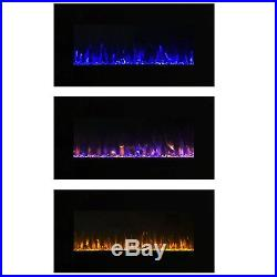 Electric Fireplace Wall Mount Insert LED Modern Linear Fire Ice Remote Glass 32