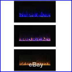 Electric Fireplace Wall Mount Insert LED Modern Linear Fire Ice Remote Glass Low
