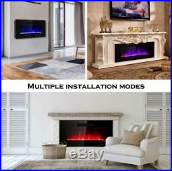 Electric Fireplace Wall Recessed Insert Flame Color Remote 50'' Warm Heat Mount
