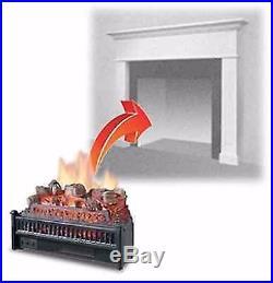 Electric Heater Fireplace Insert Burning Logs LED Pulse Flame Log Antique Bronze