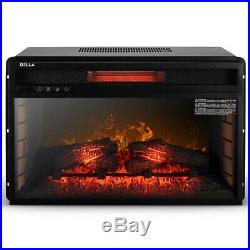 Electric Insert Heater Embedded Fireplace Glass View Log Flame Timer with Remote