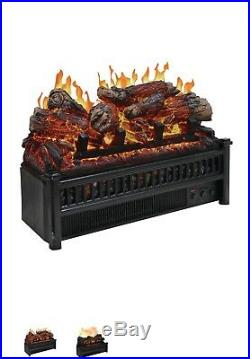 Electric Log Heater Insert Realistic Fireplace Portable Space Remote Control