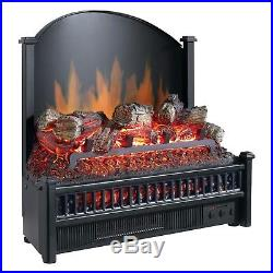 Electric Log Insert Heater Adjustable Temperature Remote Indoor Fireplace Flame