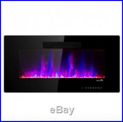 Electric Recessed Fireplace Wall Insert Log Flame Remote 36'' Warm Heater Mount