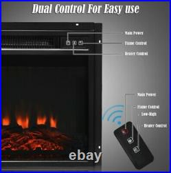 Electric Wall Fireplace Insert Log Flame Effect Remote 18'' Warm Heater TV Moun