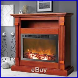 Electronic Fireplace Mantel Insert Remote Control Fire Place Heater Cherry 34