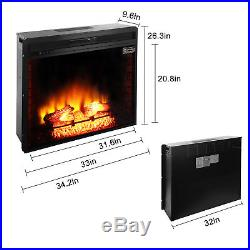 Embedded 1500W 33.5 Electric Insert Heater Fireplace Log Flame Remote Control