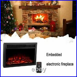 Embedded 26 Electric Fireplace Insert Heater Log Flame Remote Control GB