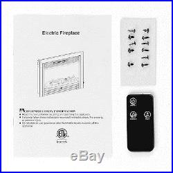 Embedded 28.5 Electric Fireplace Insert Heater with Remote Glass View Log Flame