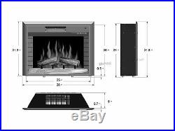 Embedded 28 Electric Fireplace Log Flame Remote Home Insert Heater Glass View