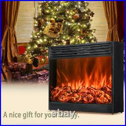 Embedded 31 Electric Fireplace Insert Heater Log Flame withRemote Control 1500W