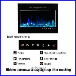 Embedded 36 Electric Fireplace Insert Heater Log Flame with Remote Control USA
