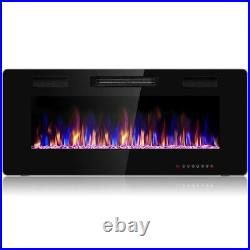 Embedded Electric Fireplace Insert Remote Control Heater Adjustable Flame Black