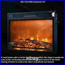 Embedded Electric Fireplace Insert Remote Heater 1500W 5120BTU Black Home Decor