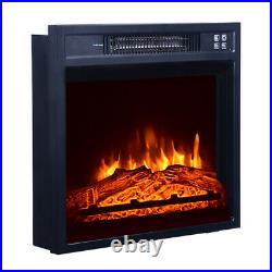 Embedded Fireplace Cabinet Electric Insert Heater Glass Log Flame Remote Home 18