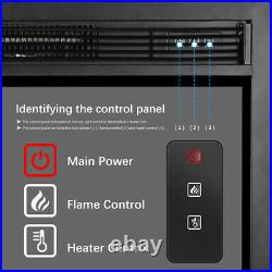 Embedded Fireplace Electric Insert Heater Glass View Log Flame Remote 1400W Home