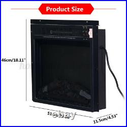 Embedded Fireplace Electric Insert Heater Glass View Log Flame Remote Control US