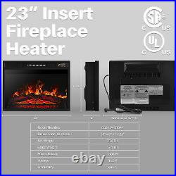 Embedded Fireplace Electric Insert Heater Glass View Log Flame Remote Home 1400W