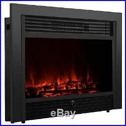 Embedded Fireplace Electric Insert Heater Glass View Log Flame Remote Home 1500W