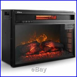 Embedded Tempered Glass Insert Electric Fireplace Heater 26 1500W RemoteControl