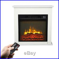 Embedded Wooden Cabinet Electric Fireplace Insert Heater Flame Remote Control