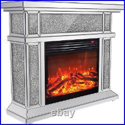 Enene Mirrored Electric Fireplace, Fireplace Mantel Freestanding Heater Firebox