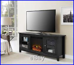 Entertainment Center Electric Fireplace Insert Adjustable Shelving Cabinet