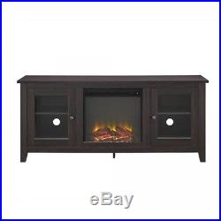Espresso Wood TV Furniture With Electric Fireplace Insert Console Stand Heater