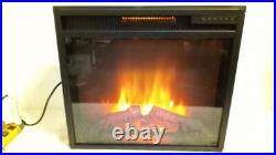 FEBO 23 Lush Glass Electric Fireplace Insert Black with Remote 23.5 x 20.5