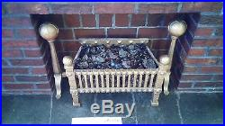 FIREPLACE insert, cast iron, vintage, with glass coal pieces & electric lighting