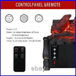 Fireplace Electric Embedded Insert Heater Log Flame Remote Control 21