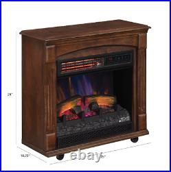 Fireplace Electric Heater Flame Infrared Log Standing Insert Realistic Wall