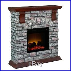 Fireplace Electric Insert Heater Wall LED Bold Flame Faux Stone Remote 38 Inch