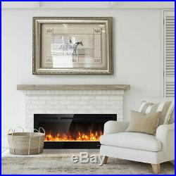 Fireplace Electric Wall Heater Log 50 Flame Insert Color Mount Recessed Control