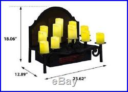 Fireplace Insert Electric Candles LED Candleabras Infrared Heater Element Vent