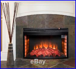 Fireplace Insert Heater Freestanding Electric Black Curved Temper 1400 W 35in