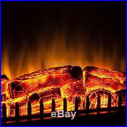 Free Standing Insert Heater 3D Flame Wood Log Electric Fireplace Firebox Remote