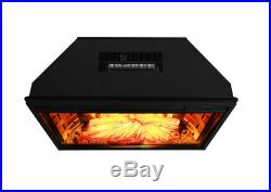 Freestanding 28 in. Electric Fireplace Insert Heater with Tempered Glass, Remote
