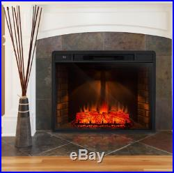 Freestanding 33 in. Electric Fireplace Insert Heater with Tempered Glass, Remote