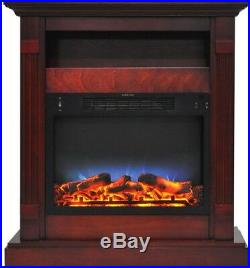 Freestanding Electric Fireplace Firebox With Multi-Color LED Insert Cherry Mantel