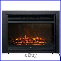 Giantex 28.5 Electric Fireplace Insert with Heater Glass View Log Flame with