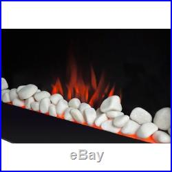 Glo Wall Mounted Electric Fire Small Modern Black Insert Fire Heater Living Room