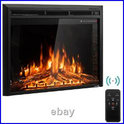 GoFlame 36'' 750W-1500W Fireplace Heater Electric Embedded Insert Timer Flame